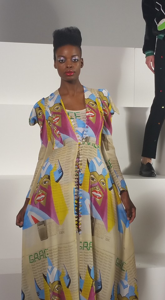 In Celebration of Grace Jones at Tata Naka Presentation worn by warilace model Charli Flecther